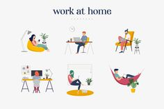 Stay at home and be safe! Collection of 24 scenes with young and elderly people - women and men staying at their home, practicing yoga, enjoying meditation, People Illustration, Flat Illustration, Graphic Design Illustration, Lets Stay Home, Cartoon Background, Accounting Logo, Working People, Photoshop, Illustrations And Posters