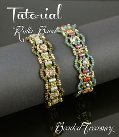 """Hello everyone! I have a new beading tutorial for you! """"Rulla Band"""" beaded bracelet made with two hole Rulla beads, 11/0 seed beads and 4mm fire polished beads. I made this bracelet design in two color combinations, one is khaki and the other is teal. I love the result and I hope you will love this bracelet as well! Beading tutorial by BeadedTreasury."""