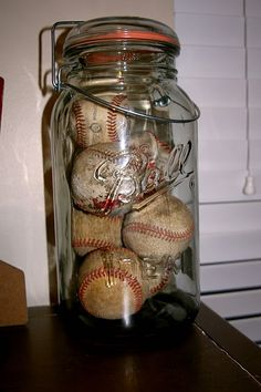 vintage baseballs in ball jar