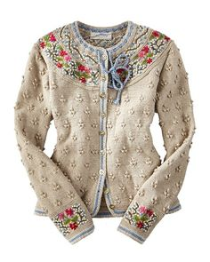 Bilderesultat for bordado no trico Gilet Crochet, Knit Crochet, Cardigan Sweaters For Women, Sweater Cardigan, Cardigans, Knit Sweaters, Ugly Sweater, Granny Chic, Mode Masculine