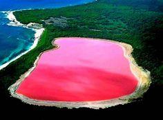 Dreamy Pink Lagoon in Las Colorados, Mexico.
