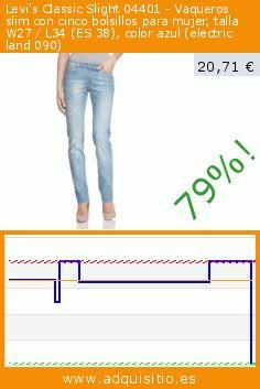 Levi's Classic Slight 04401 - Vaqueros slim con cinco bolsillos para mujer, talla W27 / L34 (ES 38), color azul (electric land 090) (Ropa). Baja 79.454365079365%! Precio actual 20,71 €, el precio anterior fue de 100,80 €. https://www.adquisitio.es/levis/classic-slight-04401-16