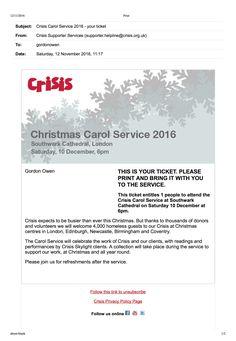 Crisis Carol Service '16 with Patron HRH Princess Alexandra & Presenter Joan Bakewell @ Southwark Cathedral