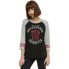 WB Harry Potter Gryffindor Quidditch Team Captain Girls Raglan ($18) ❤ liked on Polyvore featuring black and warner bros.