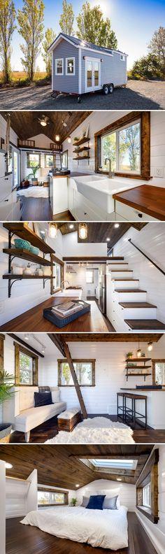 Exterior Door Trim, Grey Exterior, Exterior Design, Exterior Paint, Tiny House Plans, Tiny House On Wheels, Tiny House Living, Tiny Apartment Living, Tiny Spaces