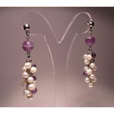"""Silver earrings model """"bunch"""" of freshwater pearls and amethyst. Shop now: http://www.giuliasorvillodiserino.com/en/haute-couture/104-orecchini-modello-grappolo-di-perle-e-ametista.html"""