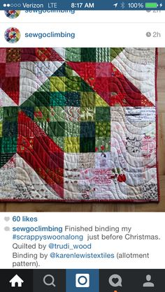 Christmas quilt close-up