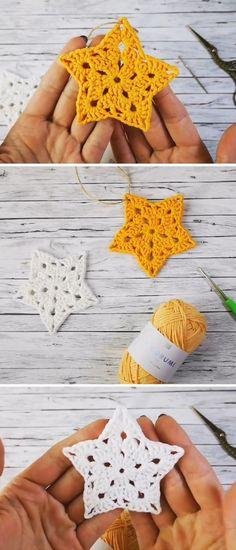 Crochet Star Patterns, Crochet Slipper Pattern, Crochet Stars, Crochet Snowflakes, Crochet Slippers, Knit Or Crochet, Crochet Gifts, Easy Crochet, Crochet Hooks