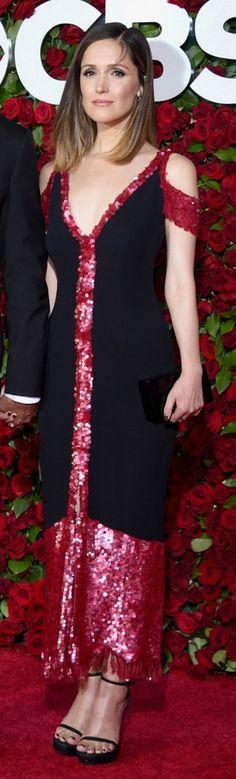 Dress: Thakoon Shoes: Stuart Weitzman Purse: Edie Parker Jewelry: Ara Vartanian