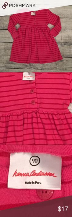 Hanna Andersson Dress Adorable striped dress in size 90. The colors are vibrant with no fading. EUC. The stripes are pinkish/red Hanna Andersson Dresses