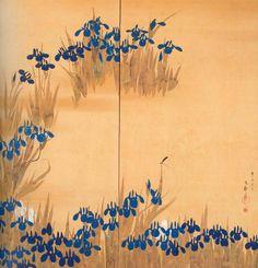 Sakai Hoitsu: Zweiteiliger Wandschirm: Schwertlilien