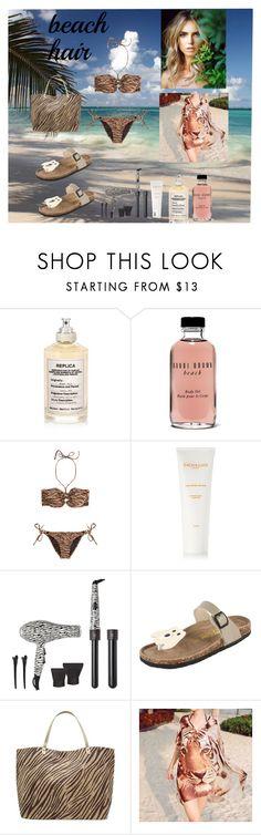 """bikini season"" by prettycarole ❤ liked on Polyvore featuring Maison Margiela, Bobbi Brown Cosmetics, Melissa Odabash, Sachajuan, Royale, M&Co and Sunset Hours"