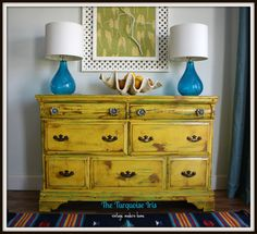 The Turquoise Iris Vintage Modern Home: Vintage Yellow Dresser Distressed & Ac Distressed Furniture Distressed Dresser Home Iris Modern turquoise Vintage Yellow Yellow Distressed Furniture, Rustic Painted Furniture, Distressed Dresser, Paint Furniture, Furniture Projects, Furniture Making, Furniture Makeover, Vintage Furniture, Dresser Makeovers