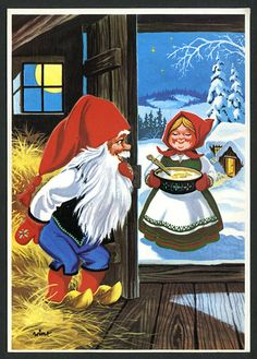 Gnomes love porridge! Scandi Christmas, Christmas Cards, David The Gnome, Elves And Fairies, Old Cartoons, Old Fashioned Christmas, Christmas Illustration, Penny Black, Red Hats