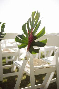 Monstera Leaf Chair Decorations | Tropical Wedding Ideas |