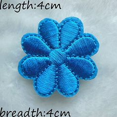 FairyTeller Lake Blue Flower Patch Hot Melt Adhesive Clothing Patch 50Pcs Applique Embroidery Blossom Diy Accessories C223 ** Click image to review more details.