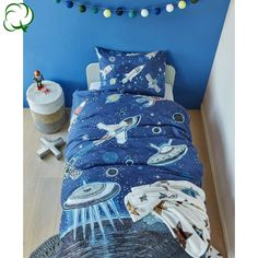 100% Cotton Space Blue Quilt Cover Set Single by Kids Bedding House