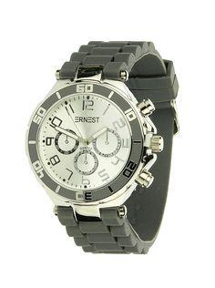 Ernest Horloge Zilver - Donkergrijs is een prachtig zilveren horloge met een donkergrijze kunststoffen band en een zilveren wijzerplaat.