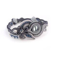 Soutache Bracelet Oriental Bracelet Grey Silver Bracelet Statement Bracelet…