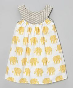 Another great find on #zulily! Yellow & Gray Elephant Yoke Dress - Toddler & Girls #zulilyfinds