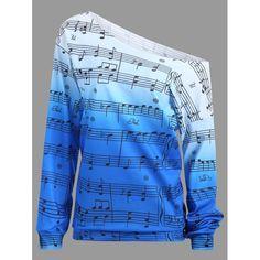 Wholesale Musical Notes Print Long Sleeve Sweatshirt M Blue Online. Cheap Long Sleeve Floral Print Dress And Long Sleeve Bikini