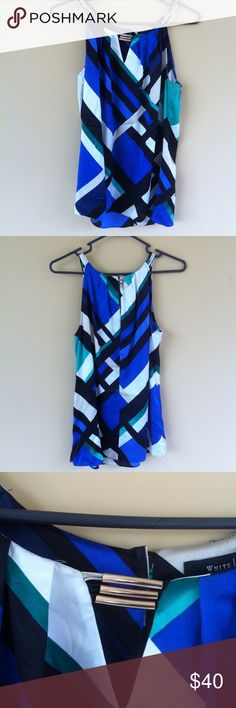 WHBM multi colored geometric top Would make the perfect top to wear for the summer.gotta love the mix colors .i think this shirt is eye catching!has shiny gold neck beads around the neck line.size M.OFFERS ACCEPTED! White House Black Market Tops Tunics