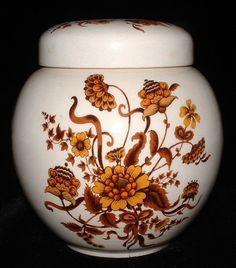 Sadler Ginger Jar Tea Caddy Fall Colors Flowers Foliage Ceramic Tea Canister - Antiques And Teacups - 1 Tea Canisters, Tea Tins, Tea Storage, Tea Caddy, Ginger Jars, Vintage Ceramic, Fall Decor, Pottery, 1960s