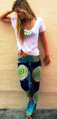 Cute pants for dance studio or home lounge wear. Also cute as a cover up over a solid colored bikini