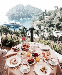 A gorgeous breakfast set up with an equally amazing view