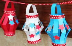red white and blue crafts for kids......made for western week and used animal stickers instead of stars