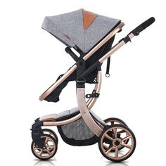 OLizee® Luxury Newborn Baby Pram Infant Foldable Anti-shock High View Stroller Pushchair(Grey)