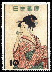 Postage Stamp( Kitagawa Utamaro )ビロードをふく娘