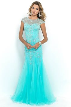 2015 Terrific Scoop Beaded And Fitted Bodice Mermaid/Trumpet Prom Dress Tulle USD 199.99 STP35HG6P6 - StylishPromDress.com