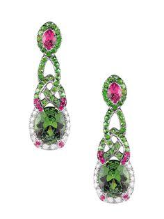 One Of A Kind Demantoid & Pink Tourmaline Interlocking Drop Earrings by Di MODOLO at Gilt