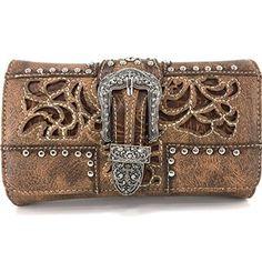 Justin West Tooled Western Leather Laser Cut Rhinestone Cross Shaped Studded Shoulder Concealed Carry Handbag Purse