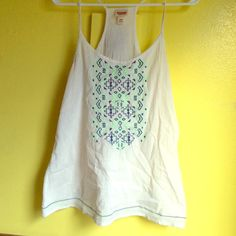 Tribal racer back tank Awesome condition! Light and flowy. Mint green, white, and navy colors. 100% cotton Mossimo Supply Co Tops Tank Tops