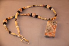 Crazy Lace Agate Necklace by DiminutiveDetails on Etsy