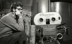 George Lucas behind a Panavision 35mm camera making Star Wars.