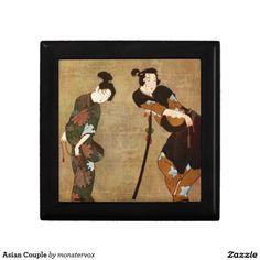 Asian Couple Keepsake Boxes #Asian #Couple #Japan #Japanese #Art #Vintage #Keepsake #Trinket #Jewelry #Box