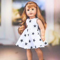 White dress, black stars, anything looks good on Maryellen! American Girl Doll Shoes, American Girl Doll Pictures, American Girl Diy, American Girl Clothes, Girl Doll Clothes, Girl Pictures, Girl Photos, Ag Dolls, Girl Dolls