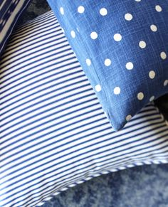 An appealing, classic motif is graciously accented with dimension from cross-woven yarn-dyed stripes. Love Blue, Blue And White, Boys Nautical Bedroom, Nautical Stripes, My Old Kentucky Home, Ticking Stripe, Blue Pillows, Striped Fabrics, Interior Design Services