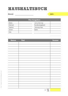 Haushaltsbuch Vorlage zum Download und Ausdrucken auf .die