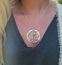 bd7b437fb808 Our Rimmed Silver Monogram Necklace features your 3 initials. Free  Shipping. Sterling Silver Monogram