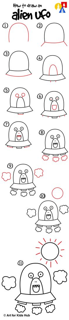 Learn how to draw an alien UFO!
