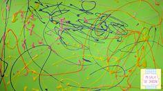 """Técnica de Chorreado o Dripping inspirados en obras de Jackson Pollock versión """"Mi sala de jardín"""" sobre soporte verde y temperas de distintos colores Dripping, Jackson Pollock, Painting, Preschool, Green, Artists, Colors, Painting Art, Paintings"""