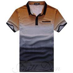 2016 dos homens marca de manga curta gradiente de cor de tarja camisa pólo  homens POLO 024dca8e730fa