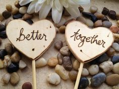 Wood Heart Cake Toppers Personalized Better Together Photo Props for Rustic Chic Wedding Anniversary Engagement Party Decorations. $16.99, via Etsy.
