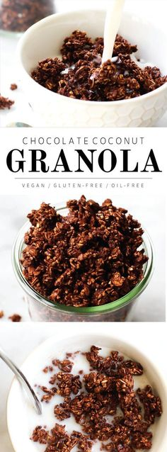 Vegan Gluten Free Oil Free - Chocolate Coconut Granola 1 cup Crispy brown rice cereal 1 cup Rolled oats cup Steel cut oats cup Maple syrup cup Cacao or cocoa powder cup Coconut or coconut flakes Vegan Snacks, Healthy Breakfast Recipes, Vegan Desserts, Healthy Snacks, Healthy Recipes, Vegan Recipes Beginner, Instapot Vegan Recipes, Healthy Sweet Treats, Vegetarian Breakfast