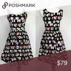 Offers welcome Bento box dress Skater style dress with pockets and elastic back waist with all over sushi print. Brand Retrolicious    100% Cotton  Made in USA  SIZE         TOTAL length  XL                      37 Dresses