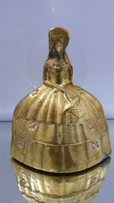 Vintage Solid Brass Bell Southern Belle Lady With Basket Antebellum Dress Ornate